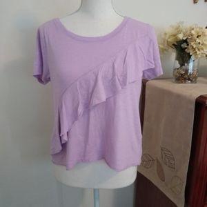 Hollister Size S light purple ruffle cropped shirt